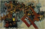 「リズム 茶(1958)」油彩・キャンバス 193×130.3cm